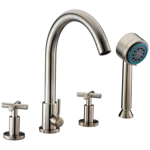 Dawn? 4-hole Tub Filler with Personal Handshower and Cross Handles, Brushed Nickel