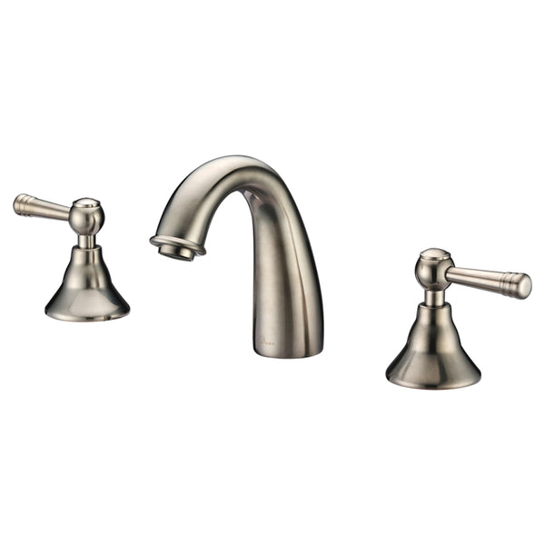 Dawn? 3-hole, 2-handle widespread lavatory faucet, Brushed Nickel (Standard pull-up drain with lift rod D90 0010BN included)