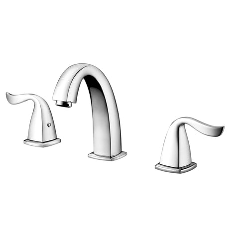 "Dawn? 3-hole widespread lavatory faucet with lever handles for 8"" centers, Chrome (Standard pull-up drain with lift rod D90 0010C included)"