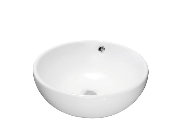 Dawn? Vessel Above-Counter Round Ceramic Art Basin with Overflow