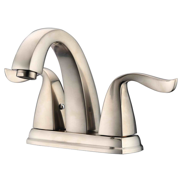 "Dawn? 2-hole, 2-handle centerset lavatory faucet for 4"" centers, Brushed Nickel (Standard pull-up drain with lift rod D90 0010BN included)"