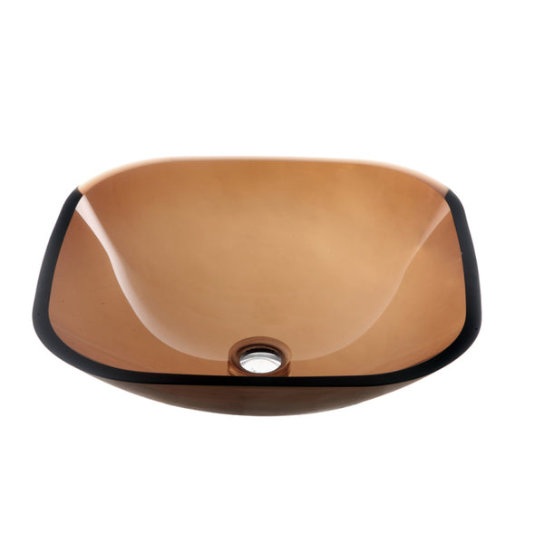 Dawn? Tempered glass vessel sink-square shape, brown glass