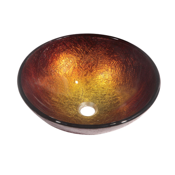 Dawn? Tempered glass, hand-painted glass vessel sink-round shape, Gold and Brown