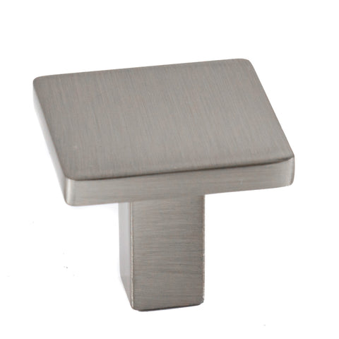 Square Modern Cabinet Knob Brushed Nickel Solid Zinc