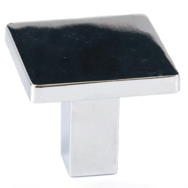 Square Modern Cabinet Knob Polished Chrome Solid Zinc