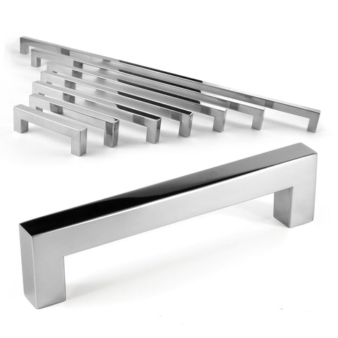 Square Bar Pull Cabinet Handle Polished Chrome Stainless 14mm