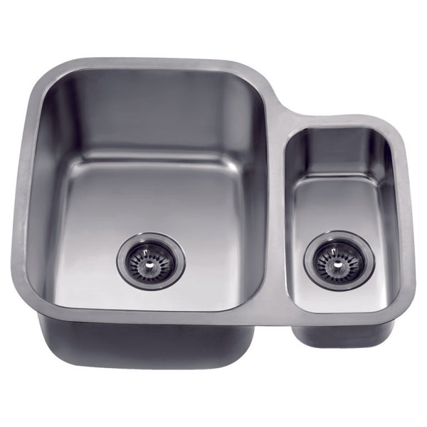 "Dawn? Undermount Double Bowl Sink (25"" x 21"" x 10"") Small Bowl on Right"