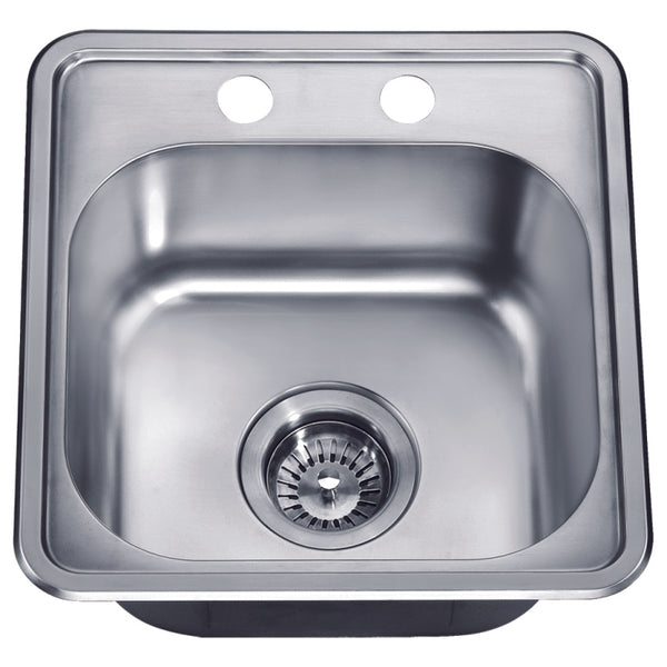 Dawn? Top Mount Single Bowl Bar Sink with Two Pre-cut Faucet Holes
