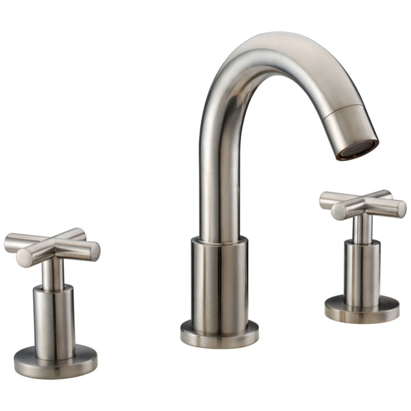 "Dawn? 3-hole widespread lavatory faucet with cross handles for 8"" centers, Brushed Nickel (Standard pull-up drain with lift rod D90 0010BN included)"