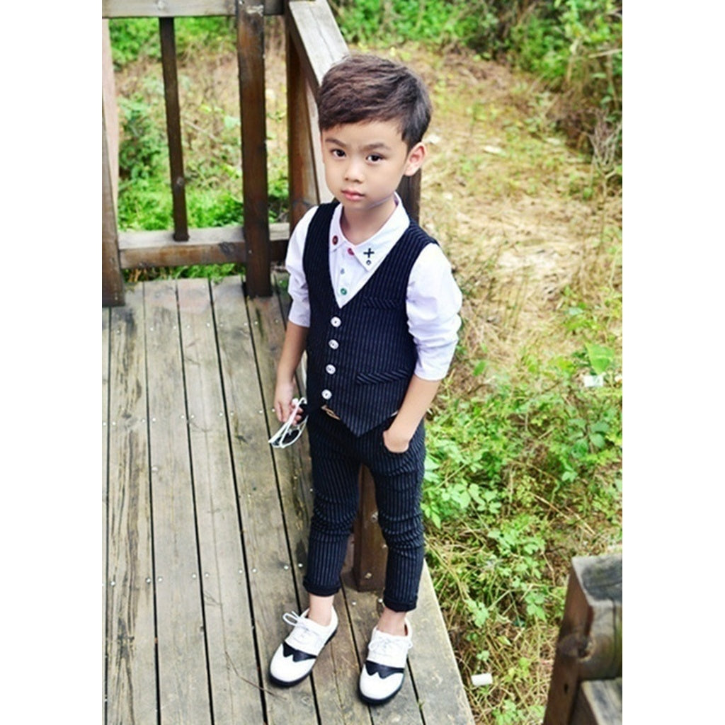 86c18bc07 Little Boys Outfits Spring British Two-Piece Suits Kids Cotton ...