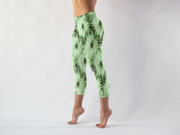 Green Tie Dye Capris Left Side View