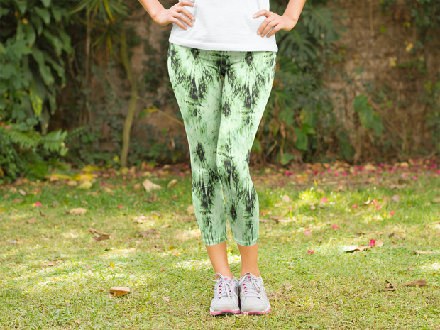 Green Tie Dye Capris Outdoors