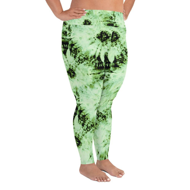 Green Tie Dye Plus Size Leggings