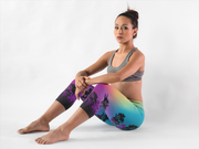 Colorful Tree of Life Capris Serious Woman