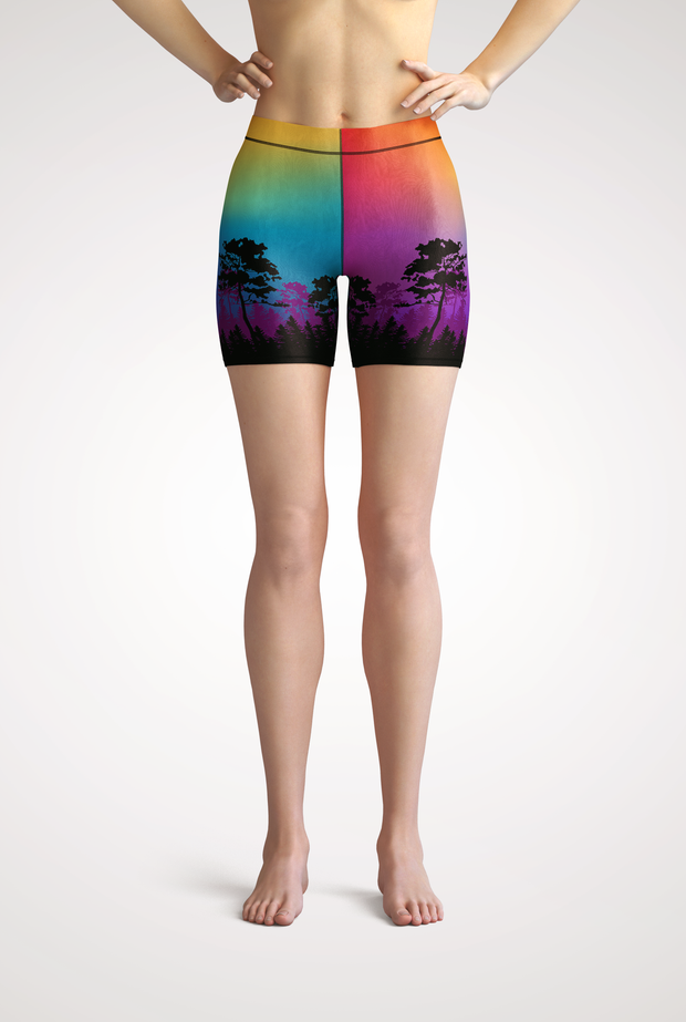 Colorful Tree of Life Yoga Shorts Front & Center View