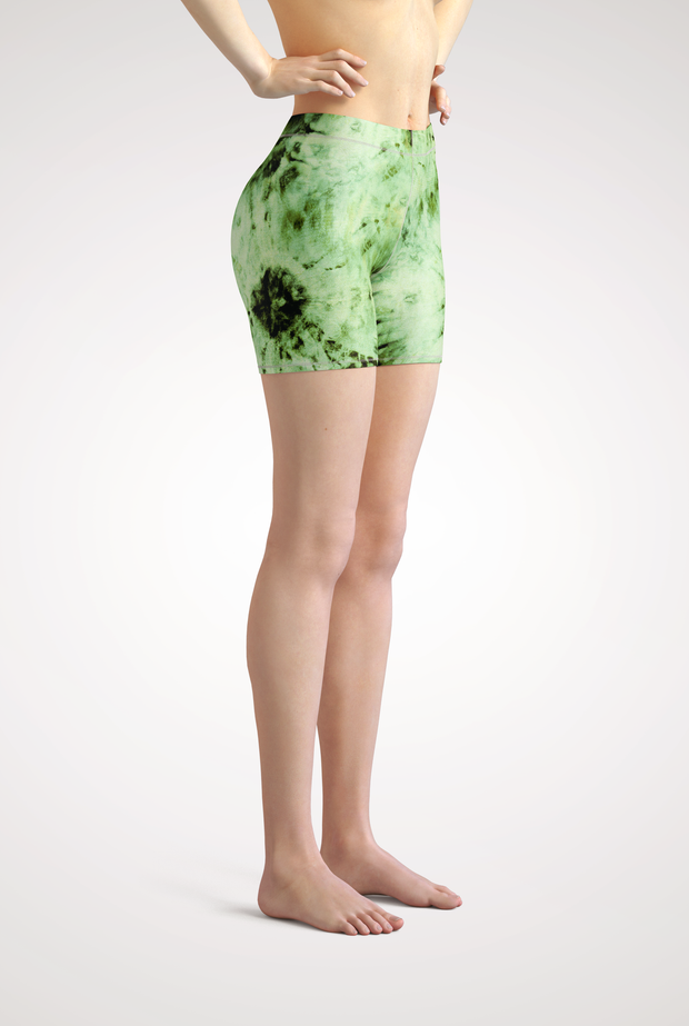 Green Tie Dye Yoga Shorts