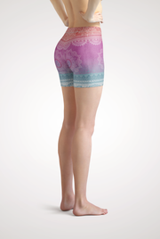 Bright Meditation Yoga Shorts Side View