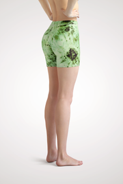 Green Tie Dye Yoga Shorts Side View