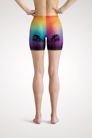 Colorful Tree of Life Yoga Shorts Straight Backside View