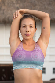 Bright Meditation Sports Bra Model Stretching