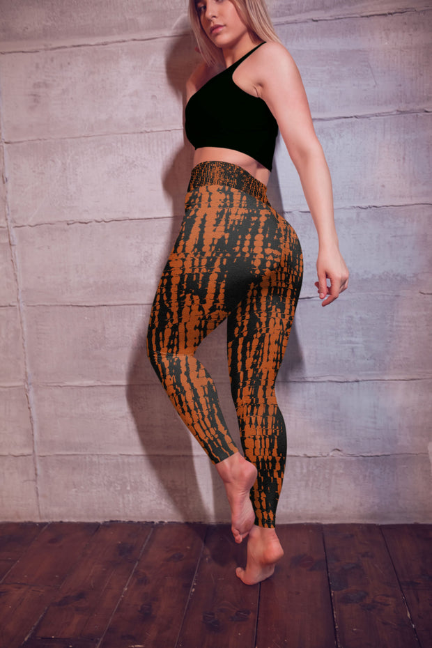Fire Tie Dye Yoga Pants Model