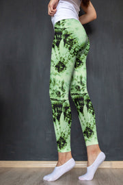 Green Tie Dye Yoga Pants Dark Background
