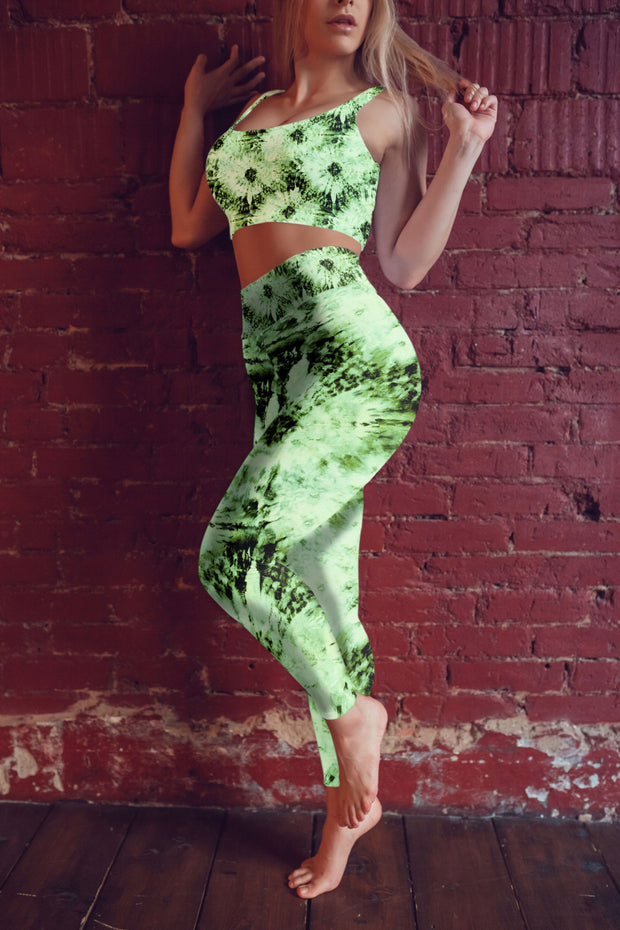 Green Tie Dye Yoga Pants Model