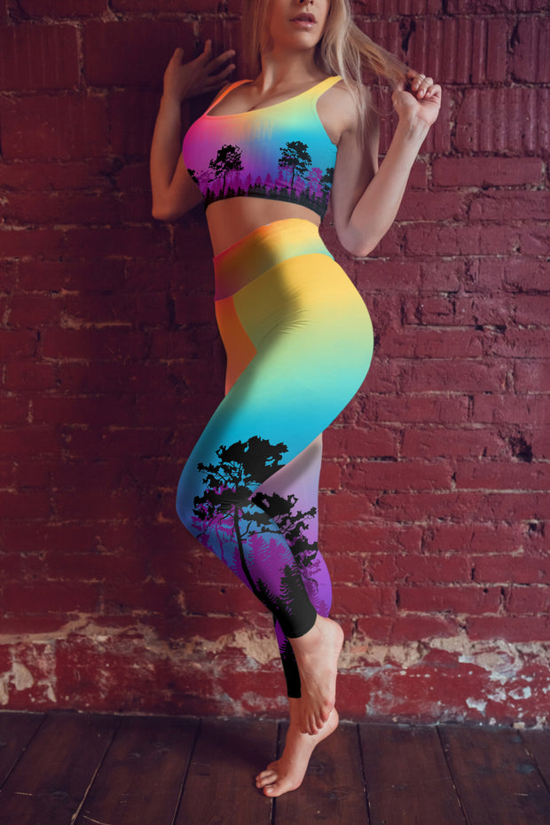 Colorful Tree of Life Yoga Pants Model