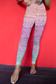Bright Meditation Yoga Pants Red Background