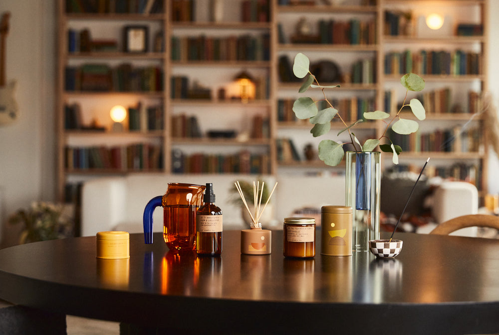 PF Candle Co Los Angeles shops scent candles, reed diffusers, incense and home goods all restocked
