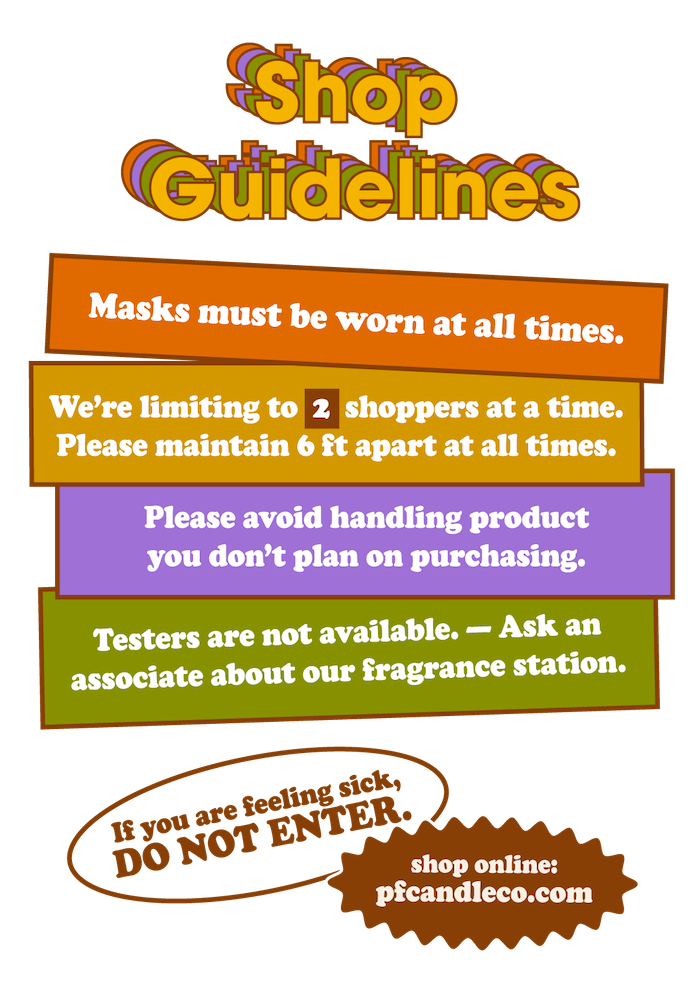 PF Candle Co Los Angeles Guidelines