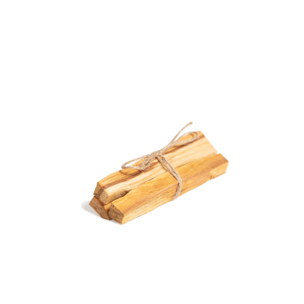 Bundle of three Palo Santo sticks tied together with twine, sitting against white background.