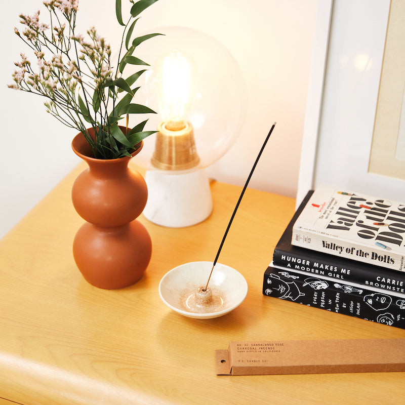 PF Candle Co Culver City Sandalwood Rose incense sticks inspired by New York meets Los Angeles, with scent notes of cashmere rose, oud, and sandalwood