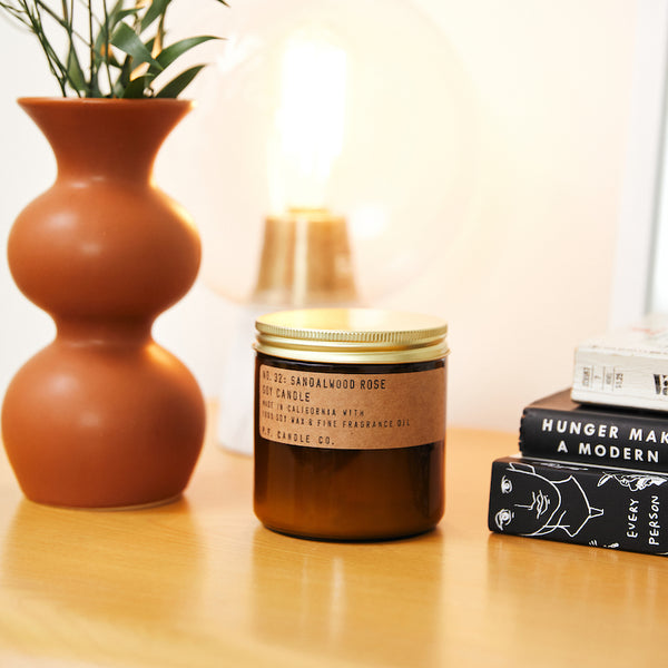 PF Candle Co Culver City Sandalwood Rose large scented soy wax candle inspired by New York meets Los Angeles, with scent notes of cashmere rose, oud, and sandalwood
