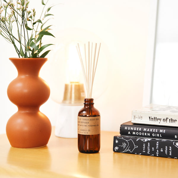 PF Candle Co Culver City Sandalwood Rose reed diffuser inspired by New York meets Los Angeles, with scent notes of cashmere rose, oud, and sandalwood