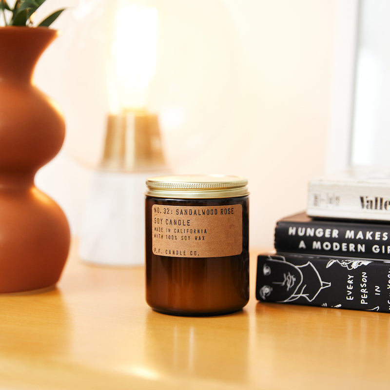 PF Candle Co Culver City Sandalwood Rose scented soy wax candle inspired by New York meets Los Angeles, with scent notes of cashmere rose, oud, and sandalwood