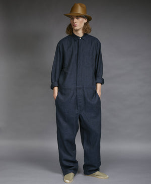 jumpsuit washed indigo linen
