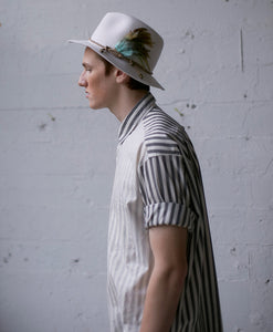 awning stripe elongated shirt tar/salt