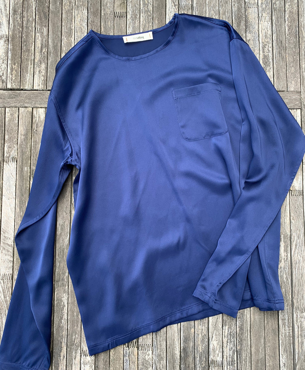 silk charmeuse box tee indigo