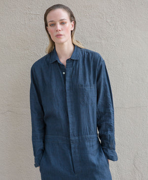 water-washed linen union-suit indigo
