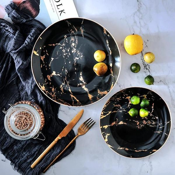 Set of 4 Unique Marble Ceramic Dinner Plates - Dreamly Decor