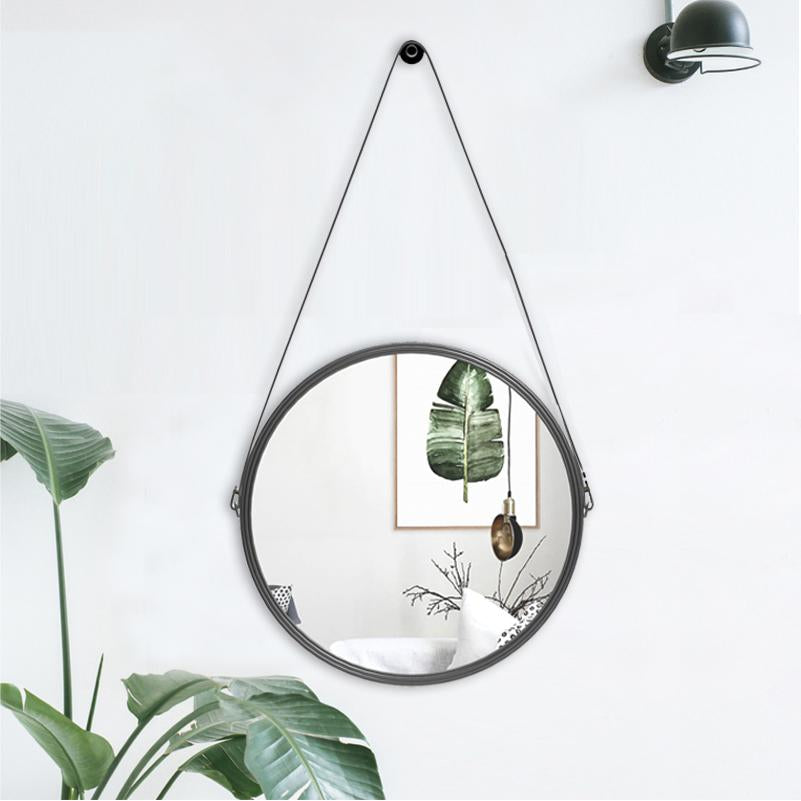 Nina - Round Leather Wall Mirror - Luxury Modern Decor