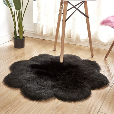 Lora - Flower Shape Faux Sheepskin Rug