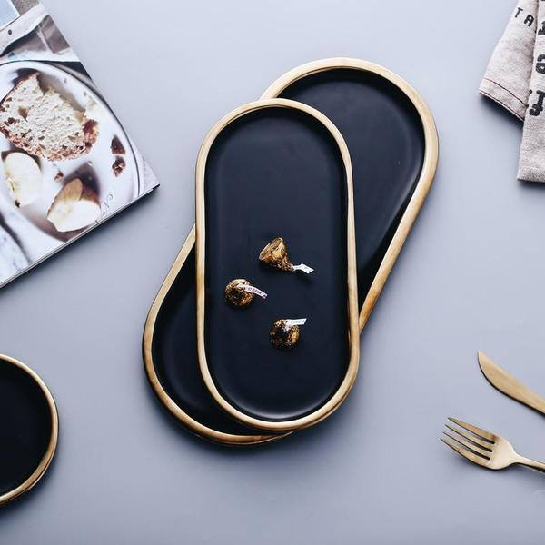 Laurel - Black & Gold Ceramic Jewelry Dish - Luxury Modern Decor