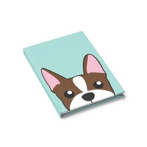 Brown Boston Terrier Paw Prints Journal - Ruled Line