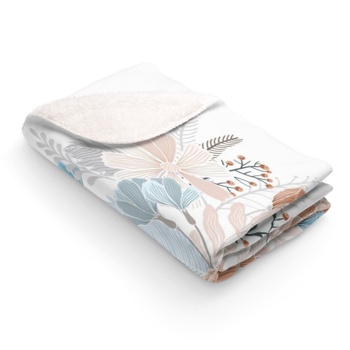 Natural Blooms Sherpa Fleece Blanket
