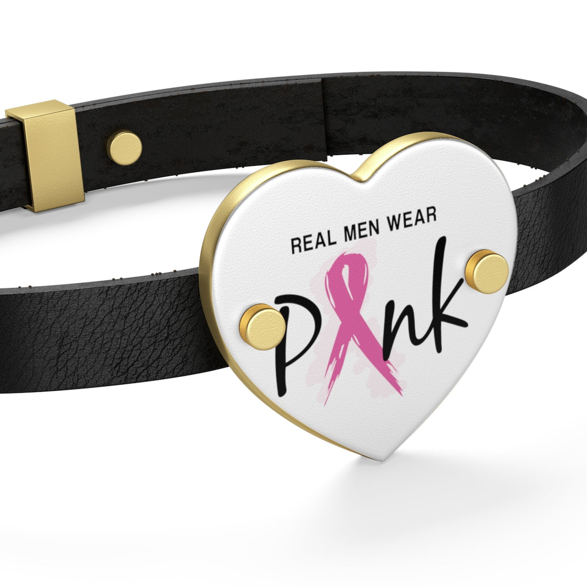 Real Men Wear Pink Breast Cancer Leather Bracelet