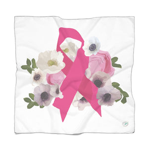 Floral Breast Cancer Poly Scarf