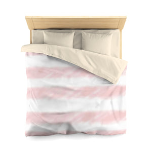 Pink Watercolor Stripe Microfiber Duvet Cover