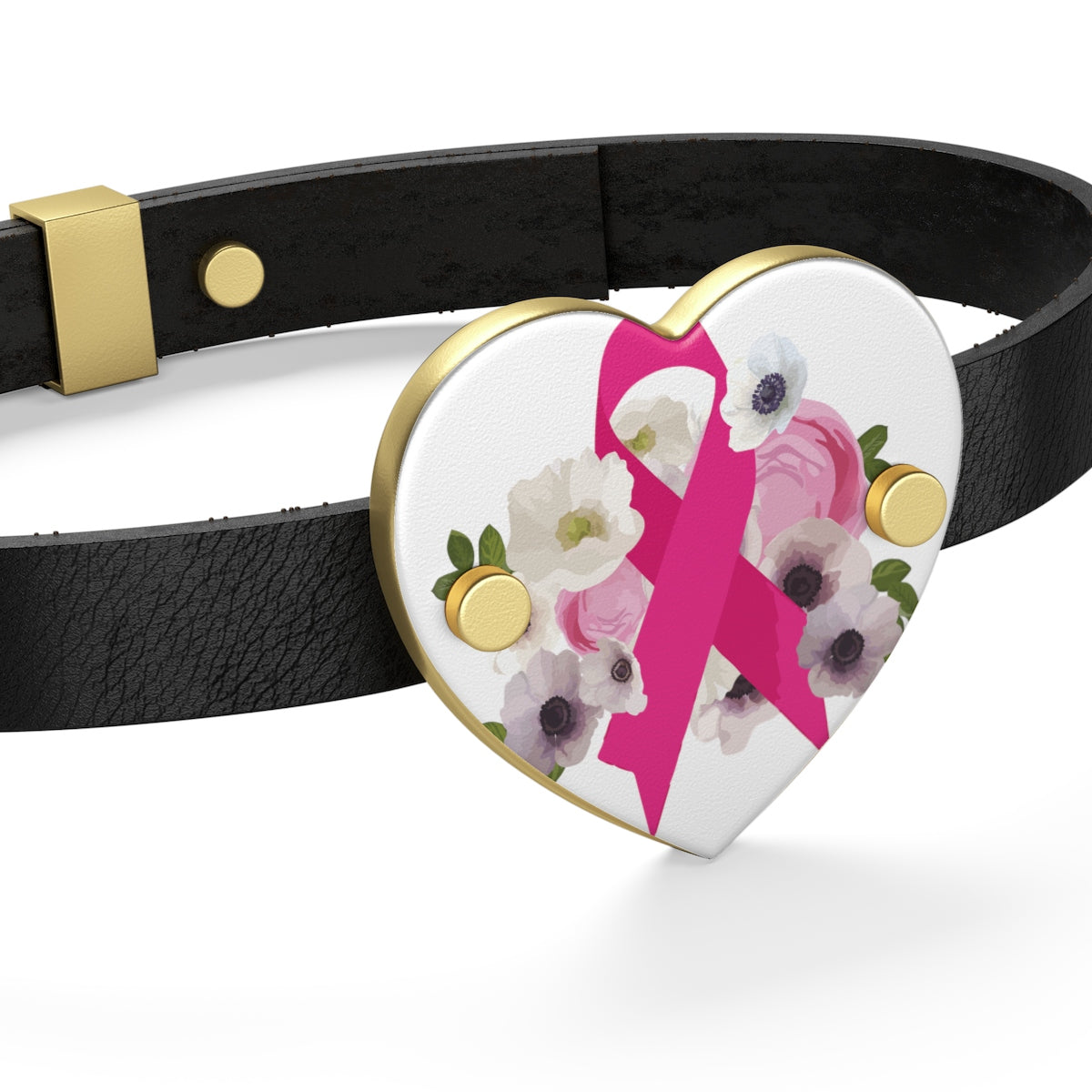 Floral Breast Cancer Awareness Leather Bracelet